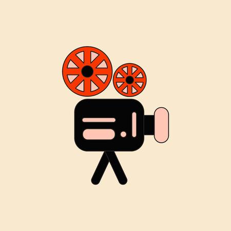 cinematograph: old movie video camera Vector illustration in flat style Retro cinema