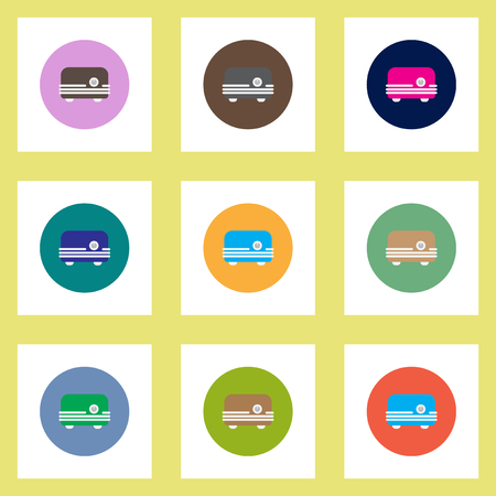 bread maker: Collection of stylish vector icons in colorful circles toaster Illustration