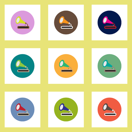 restored: Collection of stylish vector icons in colorful circles retro gramophone