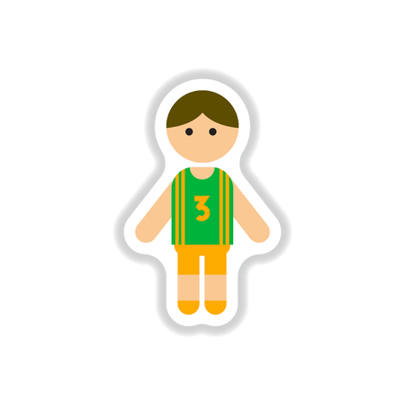 cheeky: Vector illustration in paper sticker style little boy