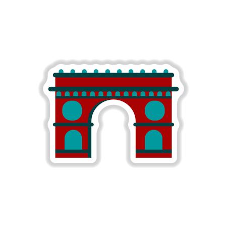 triumphal arch: Vector illustration in paper sticker style Triumphal arch architecture