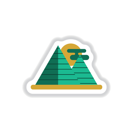 khafre: Vector illustration in paper sticker style Egypt pyramids and sun