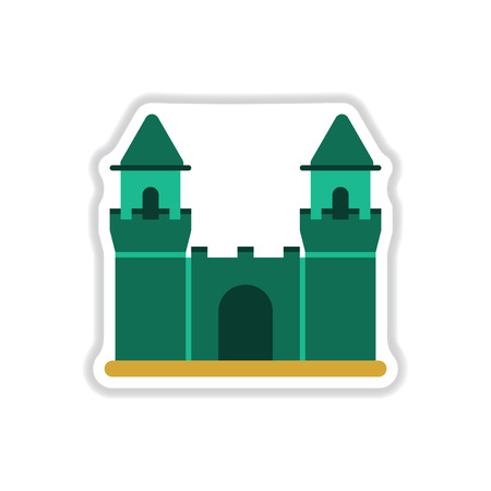 knightly: Vector illustration in paper sticker style Medieval castle
