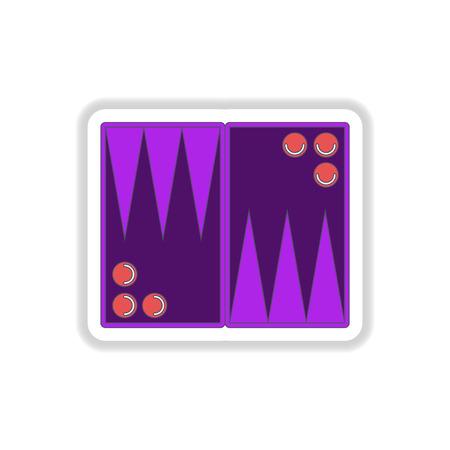 opponent: Vector illustration in paper sticker style backgammon board game