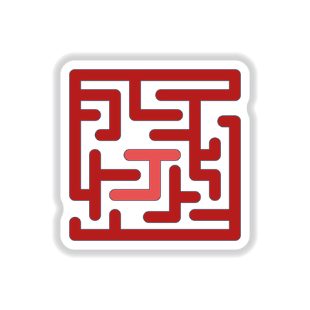 mind games: Vector illustration in paper sticker style Maze Game