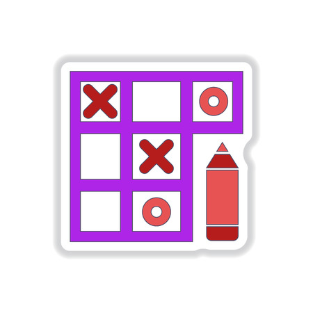 x games: Vector illustration in paper sticker style tic tac toe