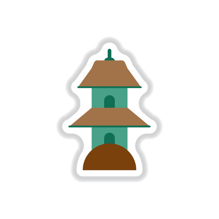 heaven: Vector illustration in paper sticker style Chinese Temple of Heaven Illustration