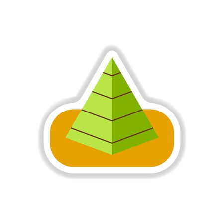 antiquities: Vector illustration in paper sticker style Egypt pyramid