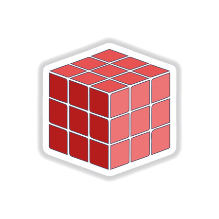 chamfer: Vector illustration in paper sticker style cube toy puzzle