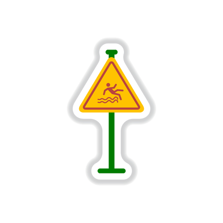forewarn: Vector illustration in paper sticker style Traffic sign Caution danger of falling into the water