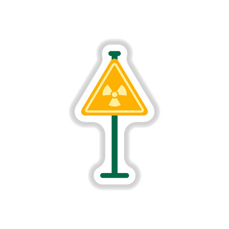 radioactive symbol: Vector illustration in paper sticker style road sign with an radioactive symbol