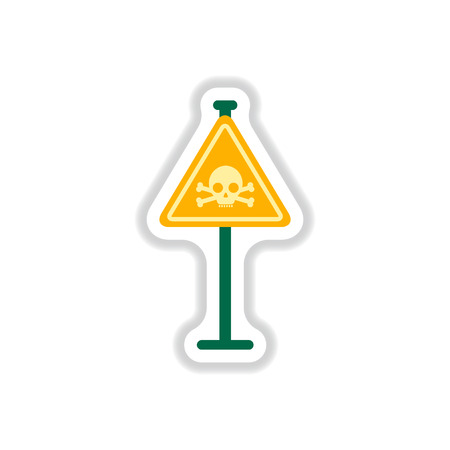 Vector illustration in paper sticker style skull danger road sign