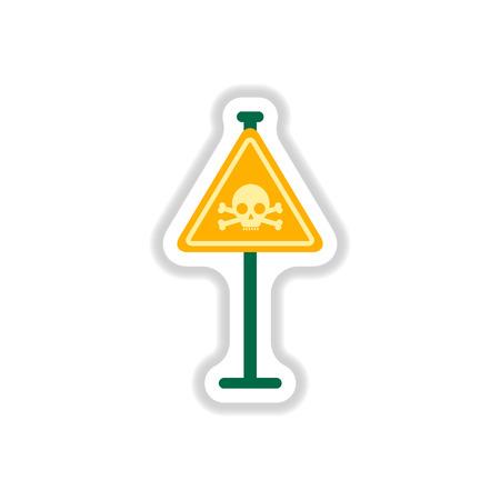 noxious: Vector illustration in paper sticker style skull danger road sign