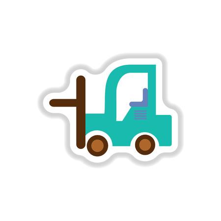 Vector illustration in paper sticker style Forklift truck Illustration