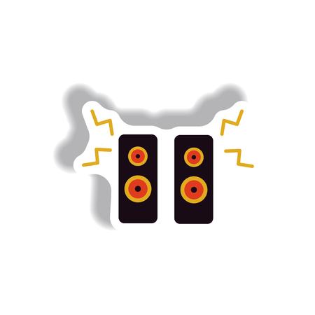 Vector illustration in paper sticker style loudspeakers Illustration