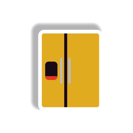 Vector illustration in paper sticker style fridge