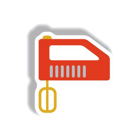 molinillo: Vector illustration in paper sticker style mixer Vectores