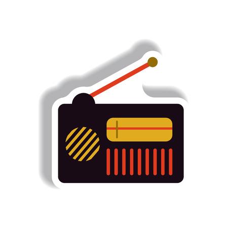 Vector illustration in paper sticker style retro radio