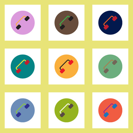 earpiece: Collection of stylish vector icons in colorful circles retro handset