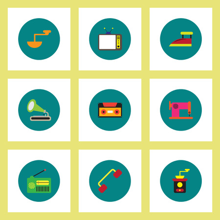 Collection of stylish vector icons in colorful circles retro house furniture