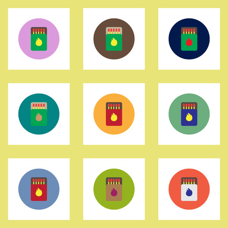 charred: Collection of stylish vector icons in colorful circles Matchbox and matches