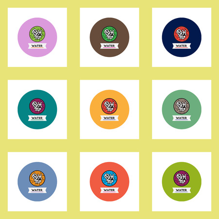 zodiacal: Collection of stylish vector icons in colorful circles element zodiacal Water