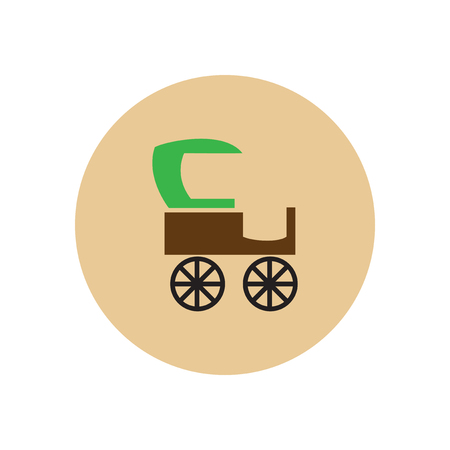 brougham: stylish icon in color  circle retro carriage Illustration