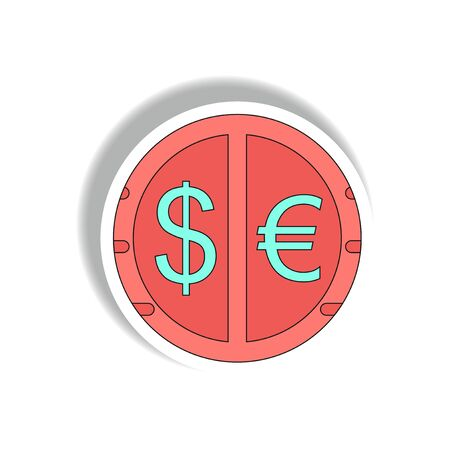 currency stock market sign Vector illustration in paper sticker style of currency exchange Illustration