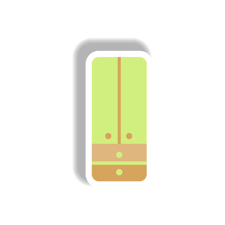 Vector illustration in paper sticker style cupboard