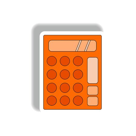 Vector illustration in paper sticker style of calculator Illustration