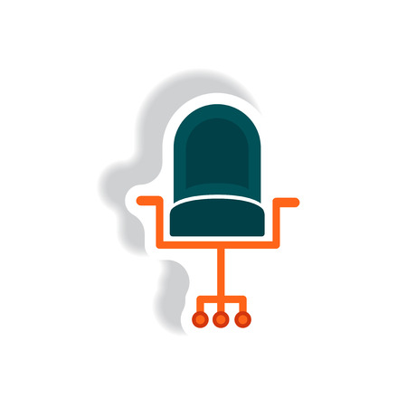 stylish icon paper sticker style office chair