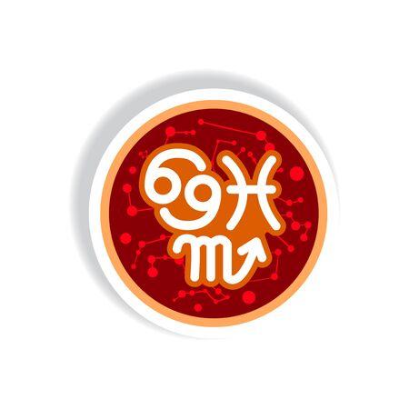 capricornio: icono de estilo en elemento de estilo etiqueta de papel zodiacal de agua