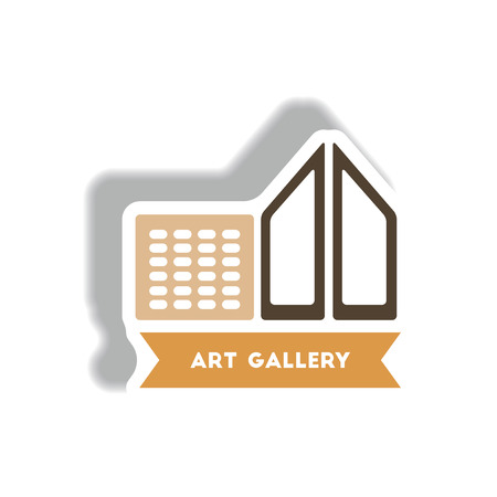 stylish icon in paper sticker style building art gallery