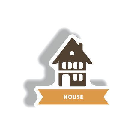 stylish icon in paper sticker style building house