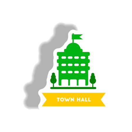 stylish icon in paper sticker style building town hall Illustration