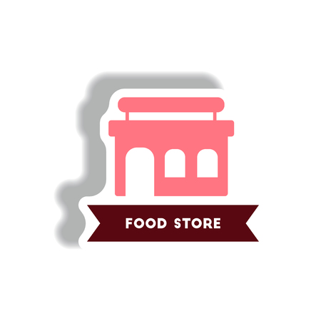 stylish icon in paper sticker style building grocery store Illustration
