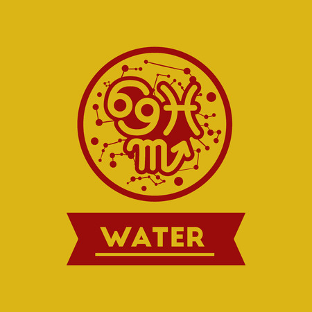 zodiacal: flat icon element zodiacal Water