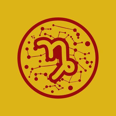 capricornio: icono plano del zodiaco firma Capricornio Vectores