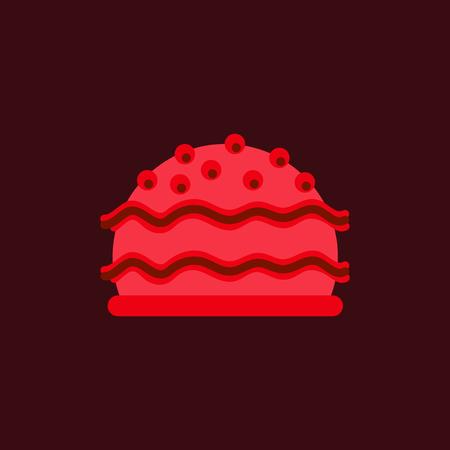 delicious cake vector flat icon