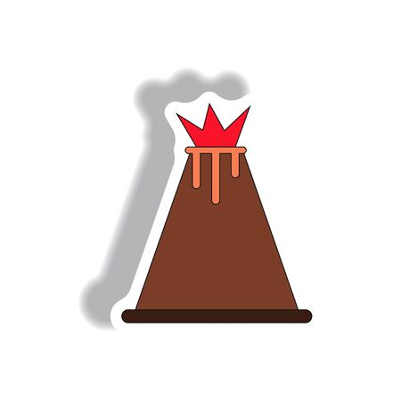 volcano mountain top exploding: volcano sticker Illustration