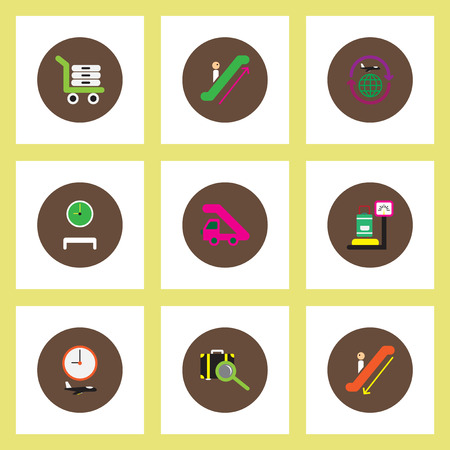 airplain: Collection of stylish vector icons in colorful circles travel transportation Illustration
