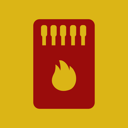 burning paper: flat icon Matchbox and matches Illustration