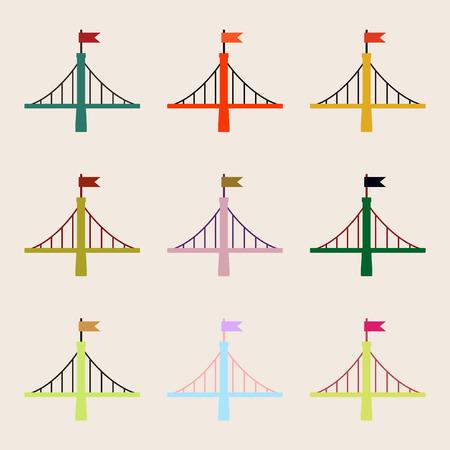 Collection de ponts, ponts métalliques avec jeu de drapeaux