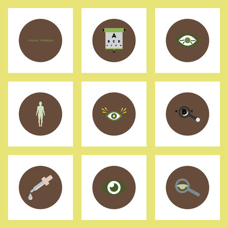 optic nerve: Collection of stylish vector icons in colorful circles vision problems