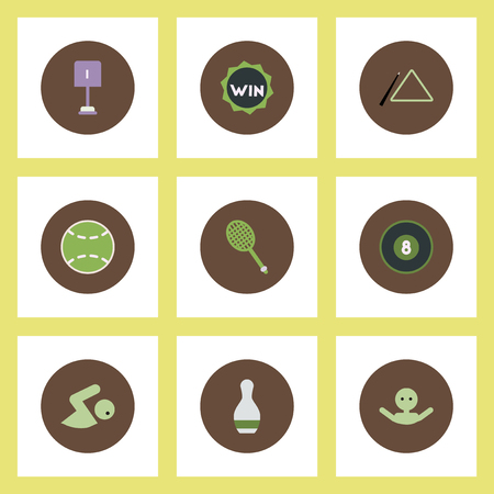 baseball stuff: Collection of stylish vector icons in colorful circles Sport equipment