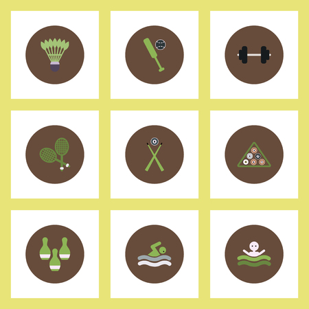 baseball stuff: Collection of stylish vector icons in colorful circles Sport stuff