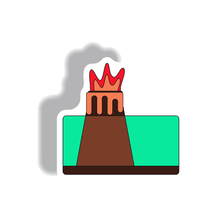 volcano explosion structure sticker Illustration