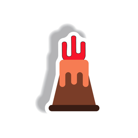 volcano mountain top exploding: volcano sticker. volcano eruption and magma