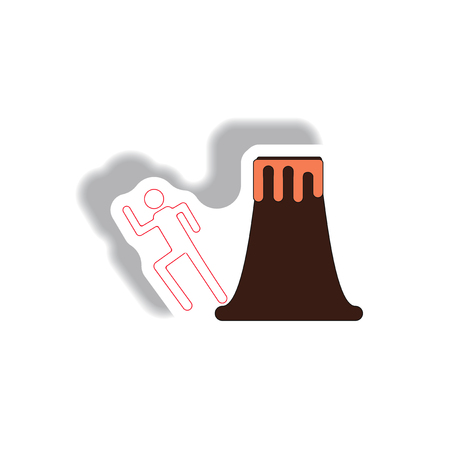 volcano and man silhouette running in sticker style