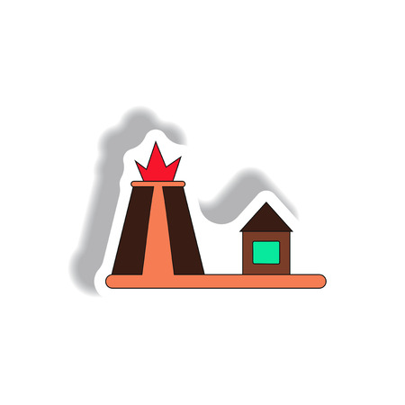 volcano mountain top exploding: Vector illustration in paper sticker style volcano explosion and house Illustration